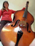 Wendy Marks holding her Double Bass